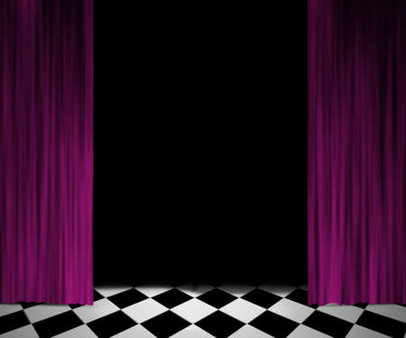 spotlight stage: Open Curtain Spotlight Stage Background Stock Photo