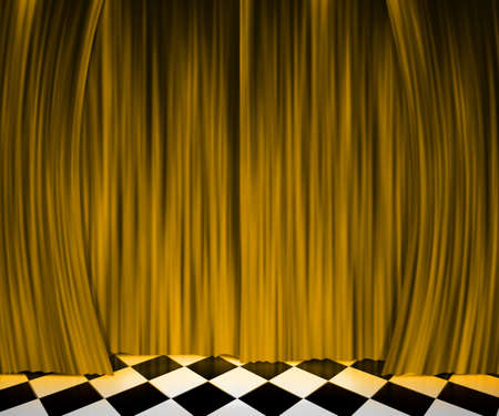 Gold Curtain Spotlight Stage Background photo