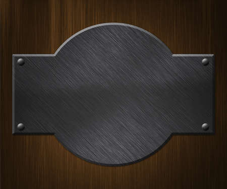 Metal Plate on Wood Background Stock Photo - 14056392