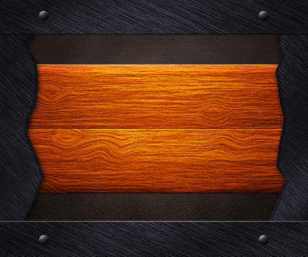 Wooden Boards in Iron Frame Background photo