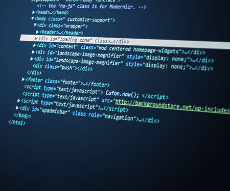 java script: Blue html Code Background Stock Photo