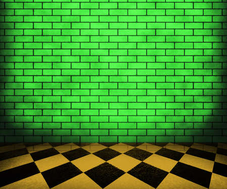 Green Chessboard Brick Interior Background photo