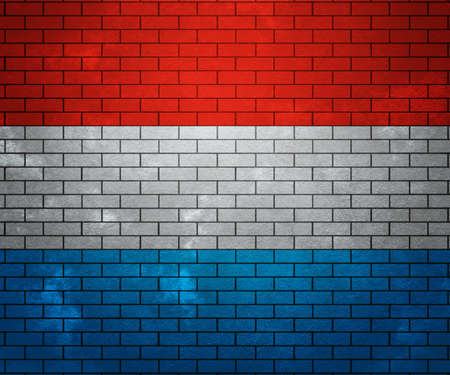Flag of Luxembourg on Brick Wall photo