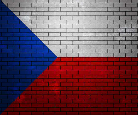 france painted: Flag of Czech Republic on Brick Wall Stock Photo