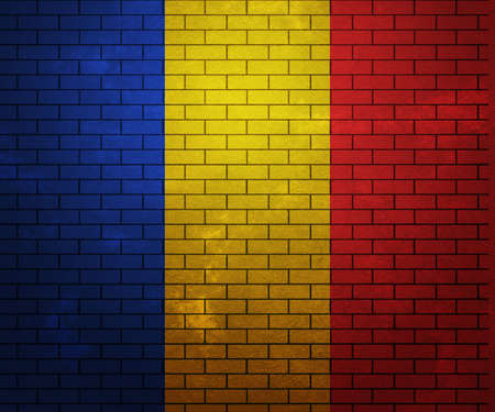 Flag of Romania on Brick Wall photo