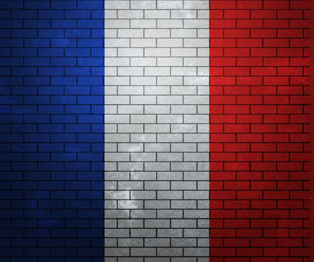 Flag of France on Brick Wall photo