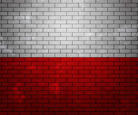 Flag of Poland on Brick Wall photo