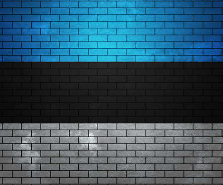 Flag of Estonia on Brick Wall photo