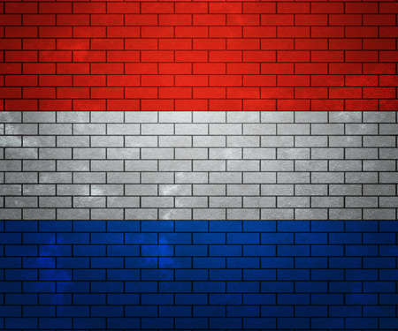 Flag of Netherlands on Brick Wall photo