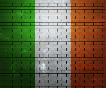 france painted: Flag of Ireland on Brick Wall