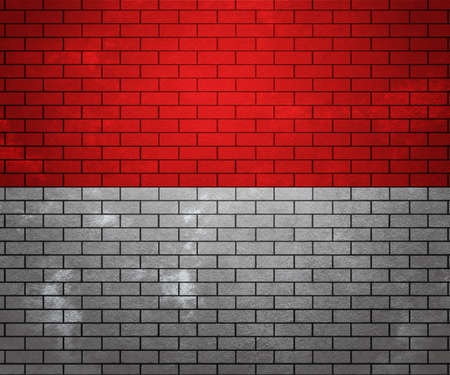Flag of Monaco on Brick Wall photo