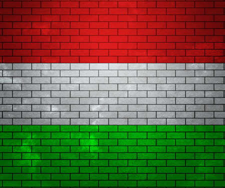 Flag of Hungary on Brick Wall photo