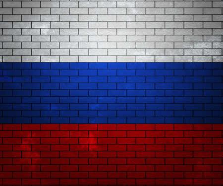 Russia  Flag on Brick Wall photo