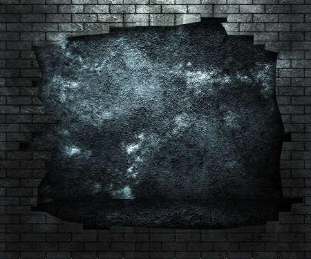 pared rota: Agujero en la pared de ladrillo