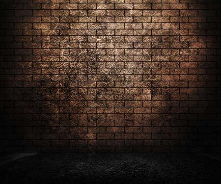 pared rota: Grunge pared de ladrillo Foto de archivo