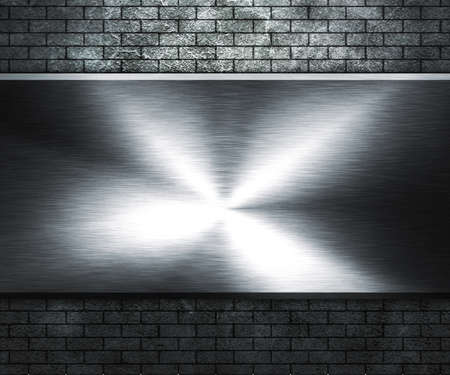 Grunge Wall and Metal Plate photo