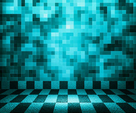 Blue Chessboard Mosaic Room Background Stock Photo - 14367370