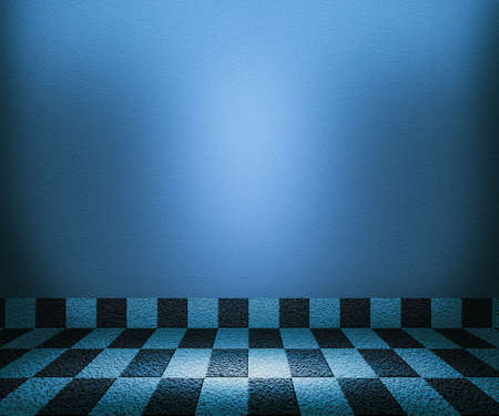 Blue Chessboard Mosaic Room Background Stock Photo - 14367398