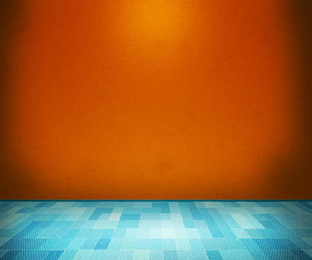 Orange Room with Blue Floor photo