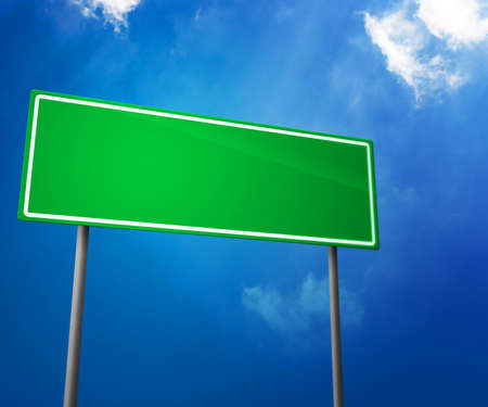 Green Blank Road Sign photo
