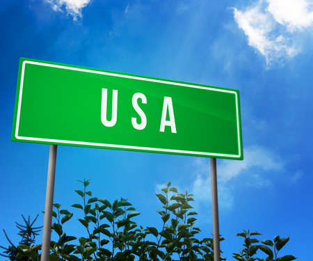 USA on Road Sign photo