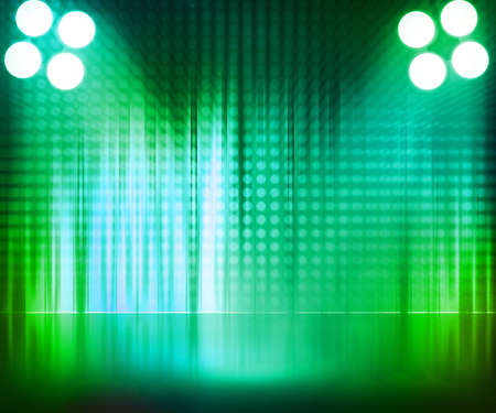 rock stage: Green Spotlight Stage Background Stock Photo
