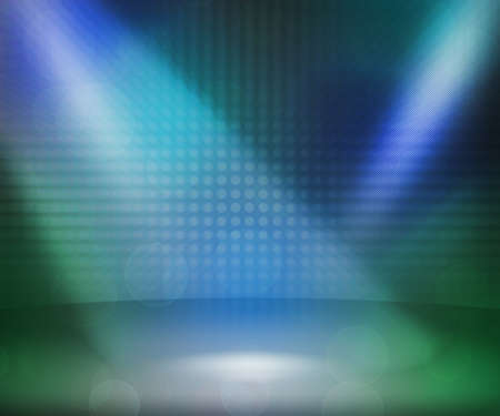 limelight: Blue Show Room Spotlights Stage Background Stock Photo