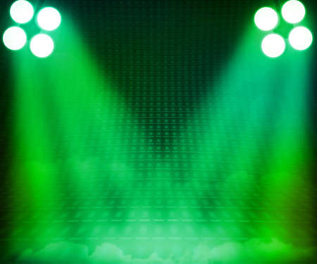 show room: Green Show Room Spotlights Stage Background