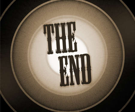 end of the world: The End Background Stock Photo