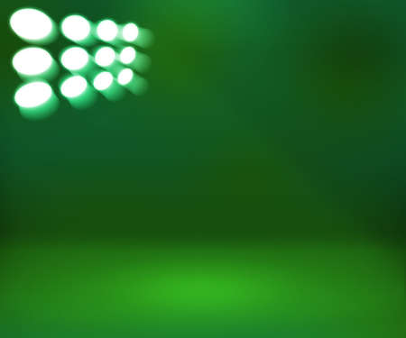 show room: Spotlight Green Show Room Background Stock Photo