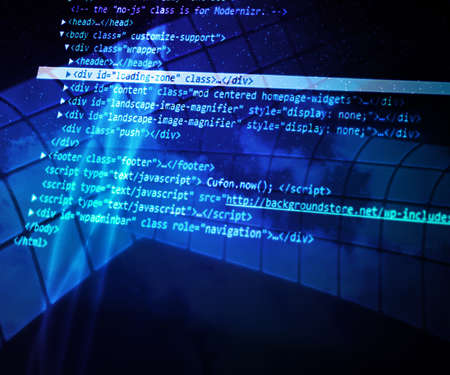 Blue Abstract Source Code Background