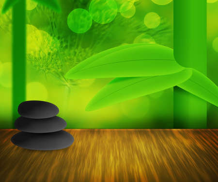 Zen Stones Green Background photo