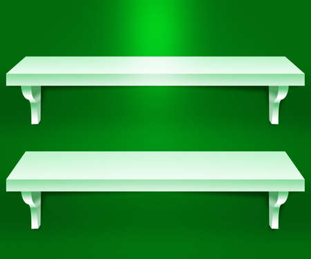 Two Shelves Green Background photo