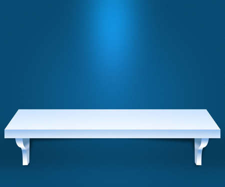 Empty Shelf Blue Background photo