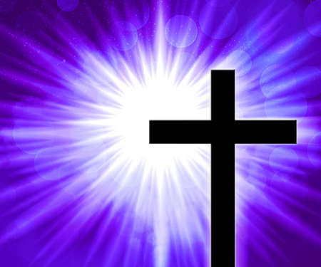 Violet Christian Cross Background Stock Photo