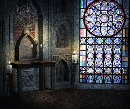 church interior: Gothic Room Background