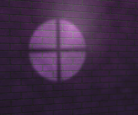 Window Light on Brick Wall Studio Violet Background photo