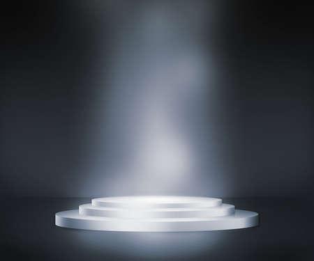 Zilveren Podium Spotlight Achtergrond Stockfoto