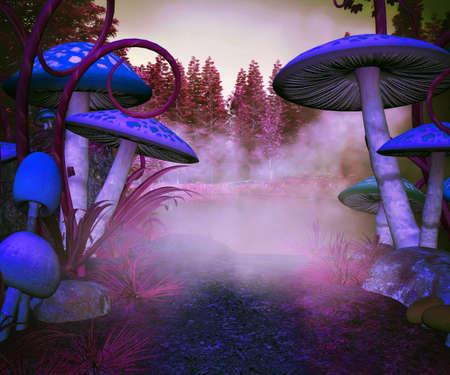 Mushrooms Magic Background Stock Photo - 21138413