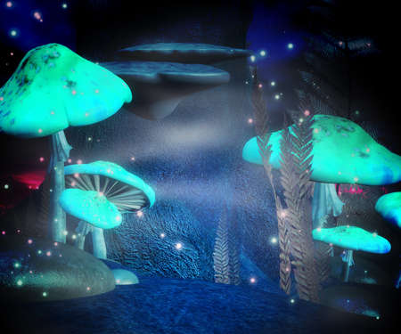 Magic Mushrooms Night Backdrop photo