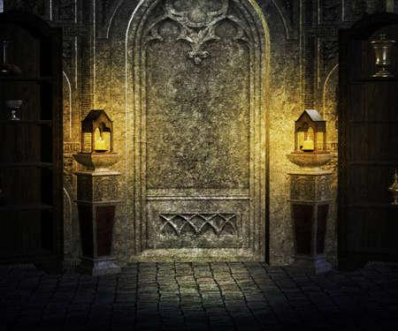 ornate door: Gothic Palace Interior Background