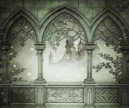 宮殿内部の背景 写真素材