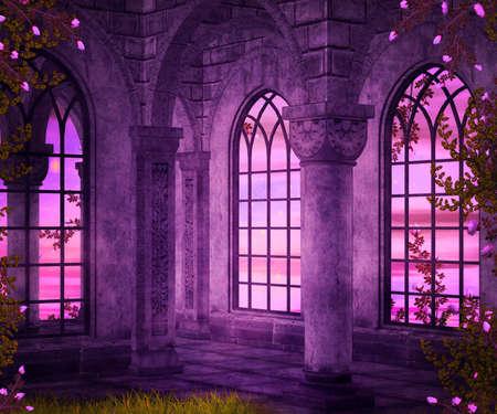 Castle Interior Fantasy Achtergrond Stockfoto