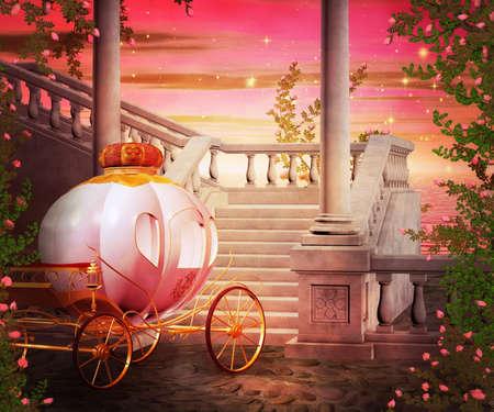 Carriage Fantasy Achtergrond Stockfoto