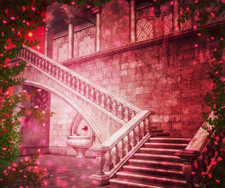 kingdom of heaven: Pink  Interior Fantasy Backdrop Stock Photo