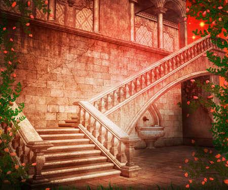 kingdom of heaven: Stairs Fantasy Backdrop Stock Photo