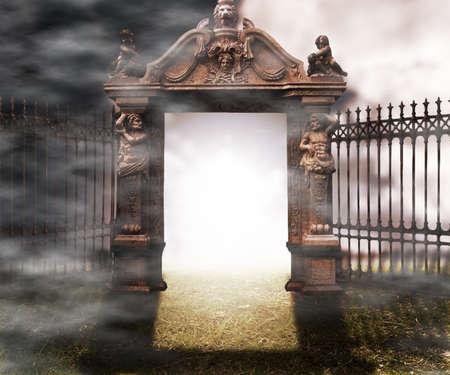 maquillaje de fantasia: Puerta g�tica de la fantas�a de fondo
