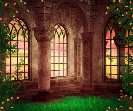 Castle Fantasy Achtergrond Stockfoto