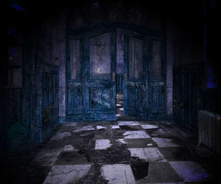 Blue Scary Interior Background photo