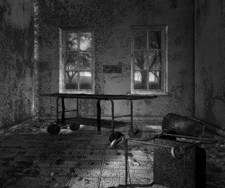 Dark Asylum Scary Interior Background photo